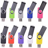 WST® (Bulk 10 Pack) 4GB Swivel USB Flash Drive USB 2.0 Memory Stick (9 Mixed Colors)