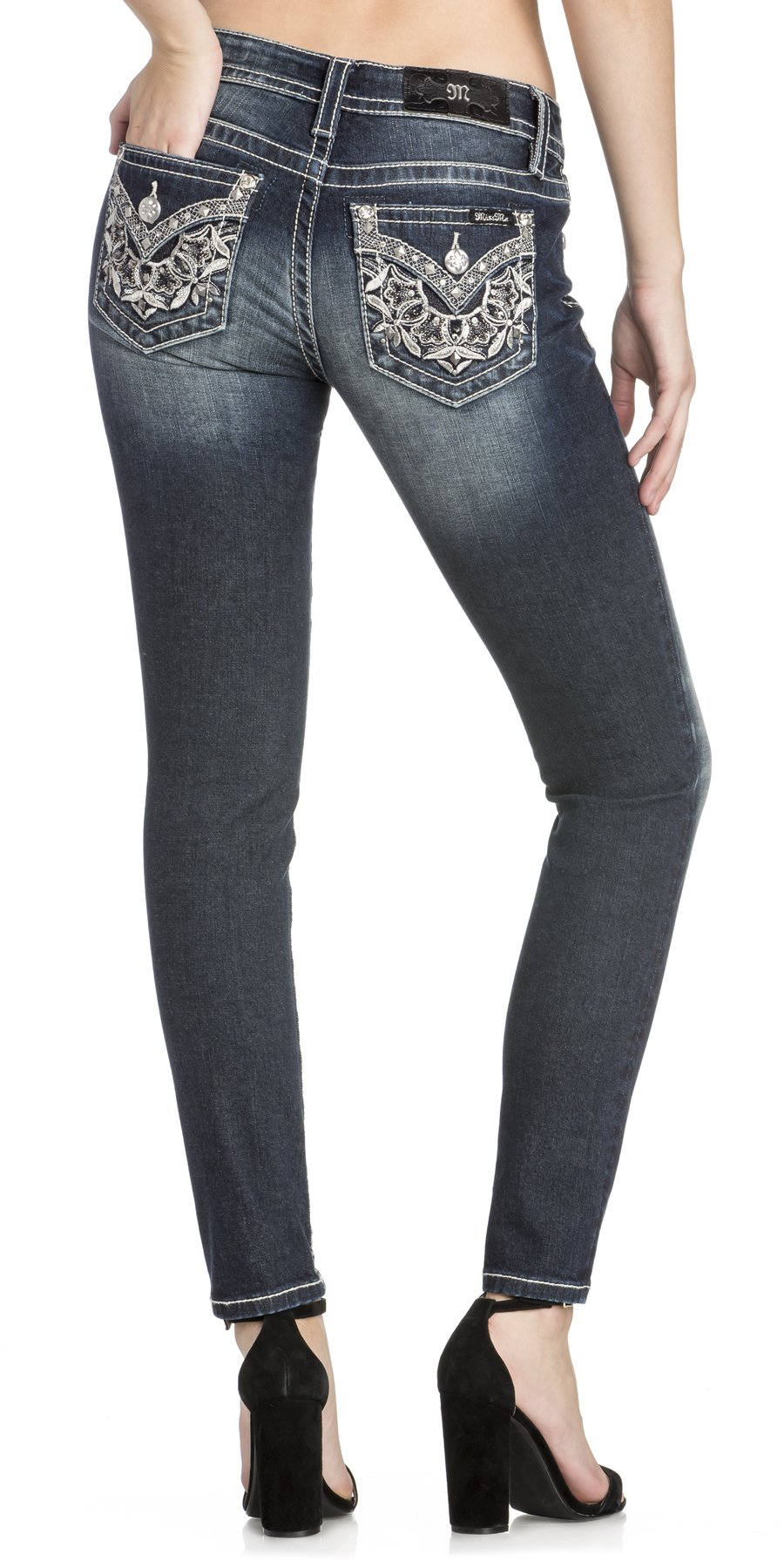 Miss Me Women's Hailey Metallic Lace Embellished Mid-Rise Skinny Jeans (Dark Blue, 27)