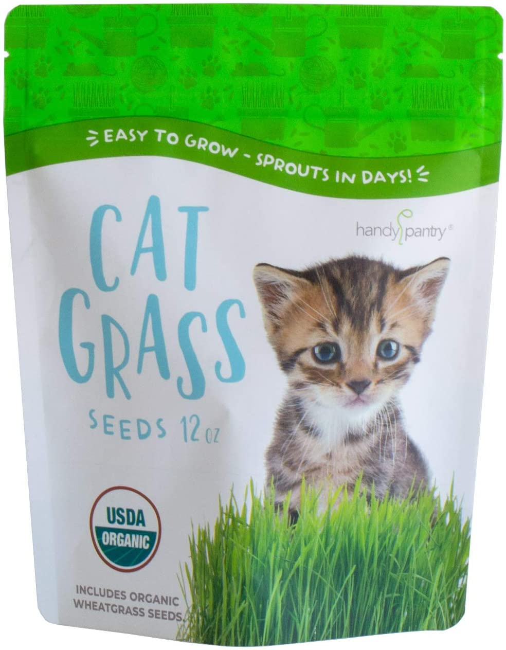 Certified Organic Cat Grass Seeds by Handy Pantry - Non-GMO Wheatgrass Seeds for Cats, Dogs, Rabbits, Pets - Wheat Grass Hairball Remedy for Cats - Hard Red Wheat for Your Home Cat Grass Kit (12 oz.)