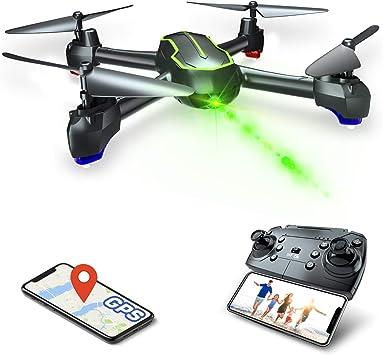 Asbww | Dron GPS con Cámara Full HD 1080p para Principiantes - Drone Cuadricóptero RC con Retorno Automático / Fotos y Vídeo HD 1080p / Transmisión en ...