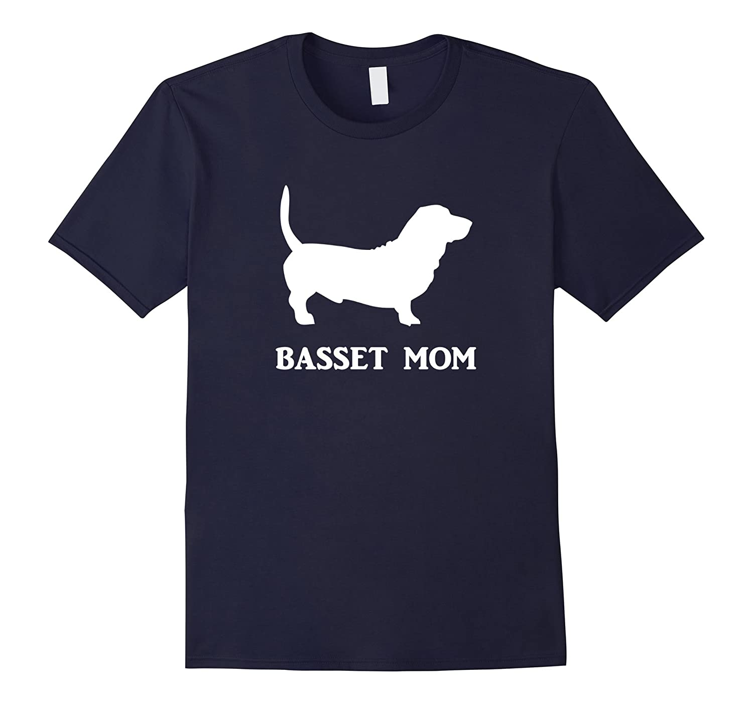 Basset Mom Basset Hound Dog Silhouette Tee T-Shirt White-Art