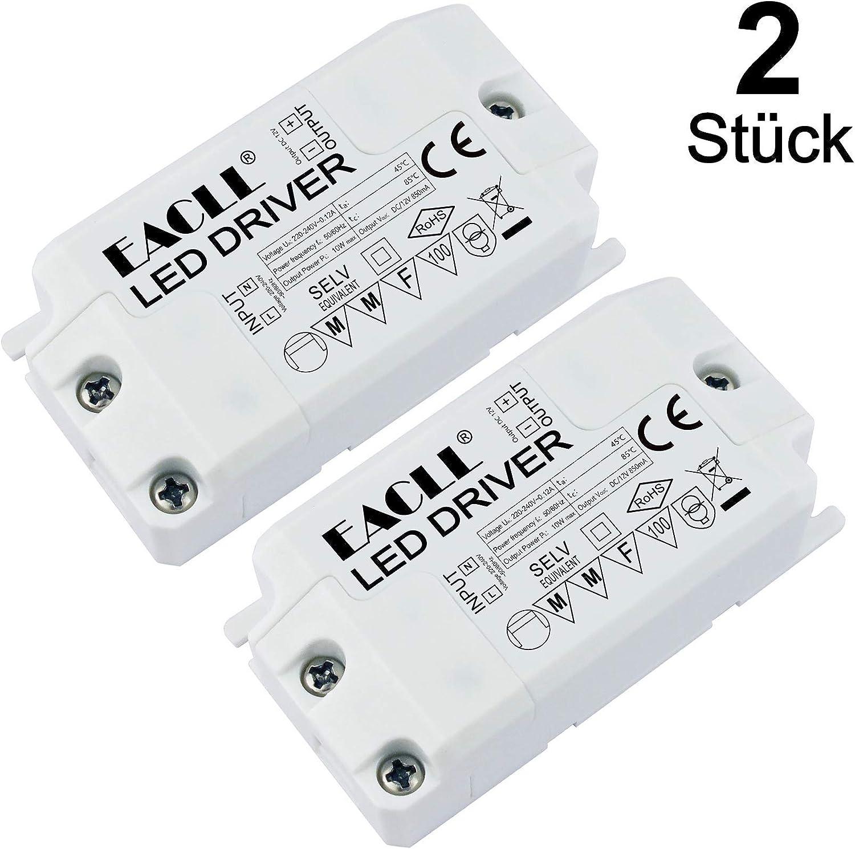 EACLL Transformador LED AC 240V a DC 12V 850mA 10W, Para drive de Menos de 10W MR11 G4 MR16 GU5.3 Bombillas LED y Tiras de Luz LED, Adaptador de Lámpara LED Controlador Alimentación, 2 Pack