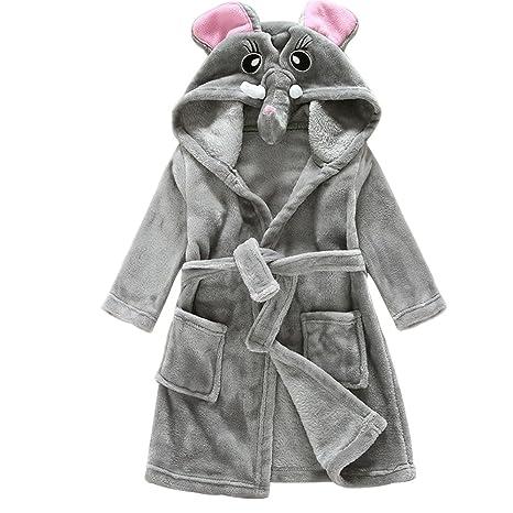 asdomo camisón de franela suave y cálida de túnica con capucha para bebé Cute Animal niños