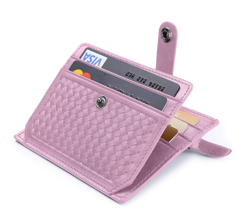 a8a21991a0 flintronic Porta Carte di Credito e Tasche Pelle, RFID/NFC Blocco  Portafoglio Bifold Magico ID Clip (#5 rosa). Da flintronic