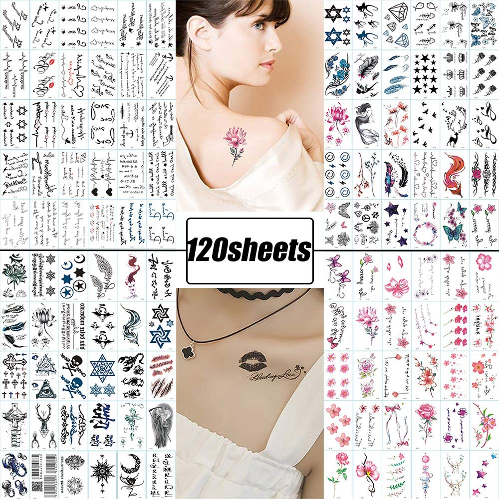 120 Sheets Fake Tattoos Temporary Tattoo Stickers for Women Men Girls Kids Tiny Black Flower Word Sexy Temp Tattoos Small  Body Art Decal Designs for Face Hand Neck Wrist Arm Back Chest Decorations