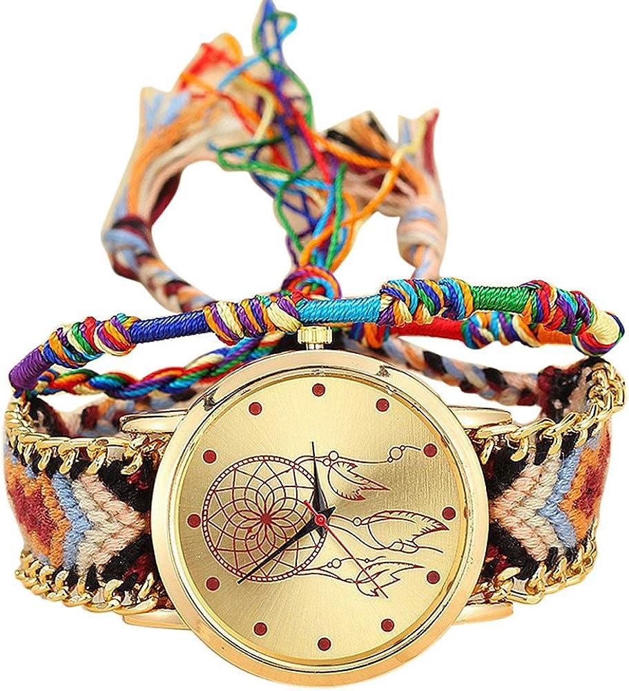 Relojes Pulsera Mujer, K-youth® Mujeres Dama Retro Atrapasueños Patrón Cuerda Tejida Pulsera Cuarzo Reloj Relojes de Pulsera Relojes de Mujer Bonitos