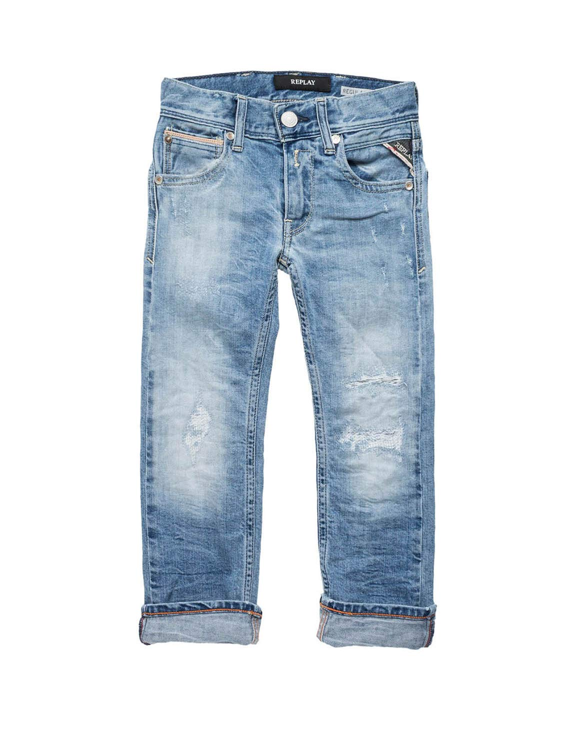 Replay Boys Kids Stretch Jeans with Rips Light Blue in Size 4 Years