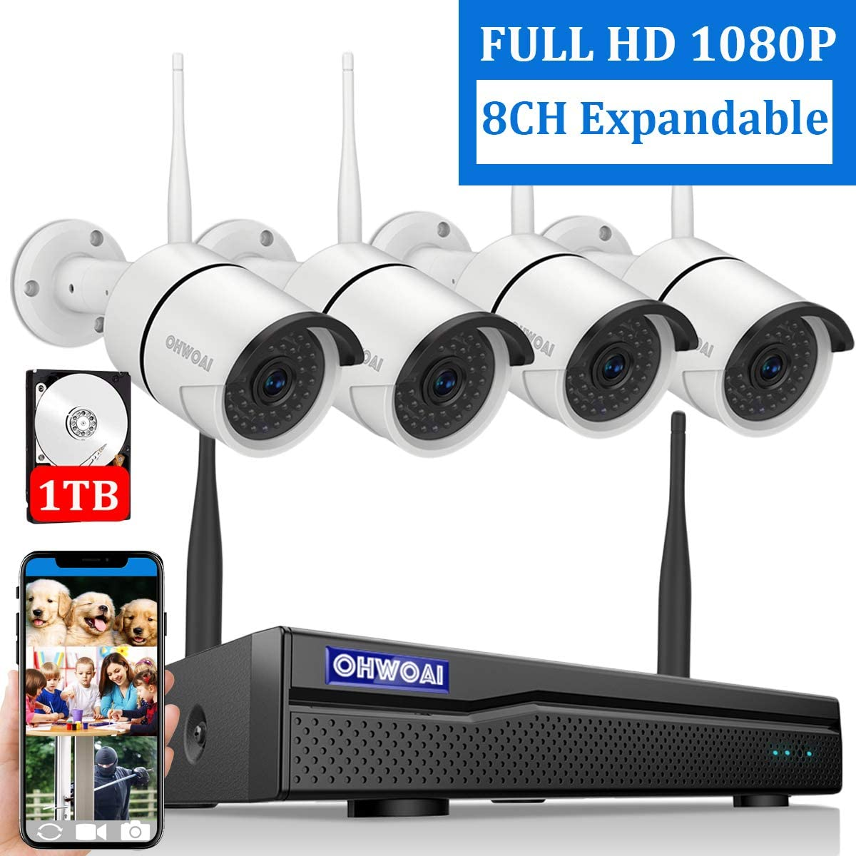 8CH Expandable Home Security Camera System Wireless, OHWOAI 8 Channel 1080P Surveillance DVR Recorder with 1TB Hard Drive, 4Pcs 2.0MP 1080P Outdoor Wireless CCTV IP Cameras,Night Vision,Waterproof