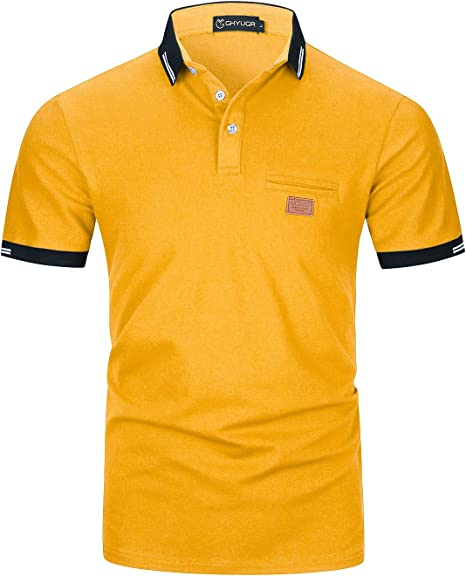 Casual Polos Manga Corta para Hombre Costura en Contraste Escote Camiseta Camisas Verano Primavera Deporte Golf Tennis T-Shirt Oficina: Amazon.es: Ropa y accesorios