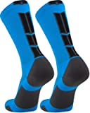 TCK Elite Crew Socks (Electric Blue/Graphite/Black, Medium)