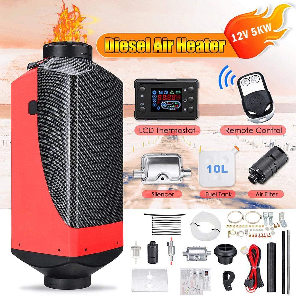 Air Heater Kit-Diesel Air Cabin Heater 12V 5000W Fuel Diesel Parking Pump Parking Heater with Remote Control LCD Display for Car/Pickup/BigTruck/Van/Bus/RV/Motorhome/Trailer/Boats