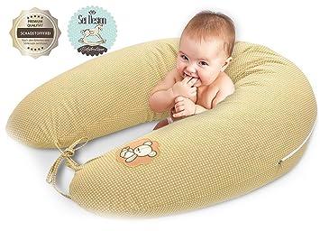 Almohada de enfermería, cojín de lactancia, de calidad, marca SeiDesign 170 x 30 cm, que consiste en el llenado de bolas de fibra - muy suave y ...
