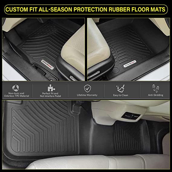 San Auto Car Floor Mats Custom Fit for Toyota Highlander 2019 2018 2017 2016 2015 2014 Black Navy Blue Auto Floor Liners Set All Weather Protection Heavy Duty Odorless