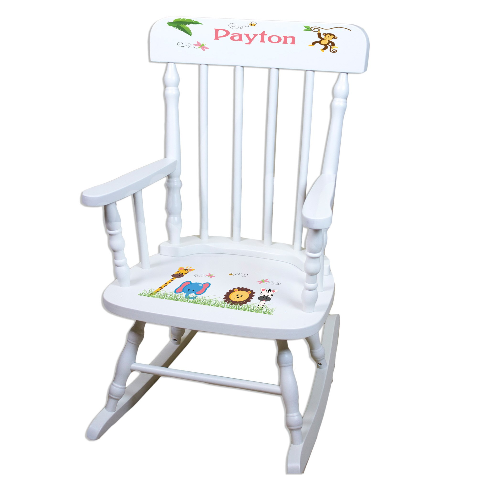 MyBambino Personalized White Spindle Rocking Chair with Jungle Animals Girl design design