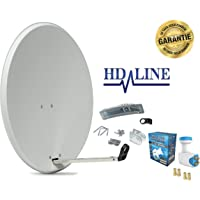 HD-LINE 4 Teilnehmer Set - Qualitäts-Alu-Sat-Anlage - Select 60/65cm Spiegel/Schüssel Anthrazit HD-LINE Quad LNB - Satelliten-Komplettanlage - für 4 Receiver/TV [Neuste Technik - DVB-S/S2, Full HD, 4K/UHD, 3D]