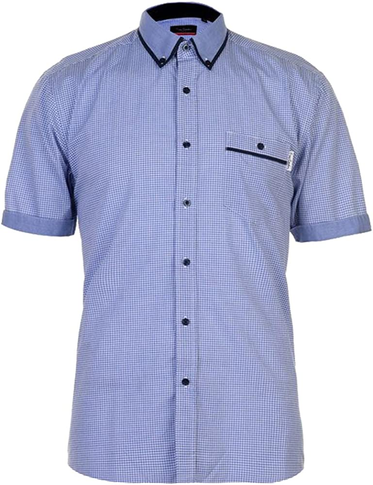 Pierre Cardin Hombre Fashion Camisa de Manga Corta Azul/Blanco Chk L: Amazon.es: Ropa y accesorios