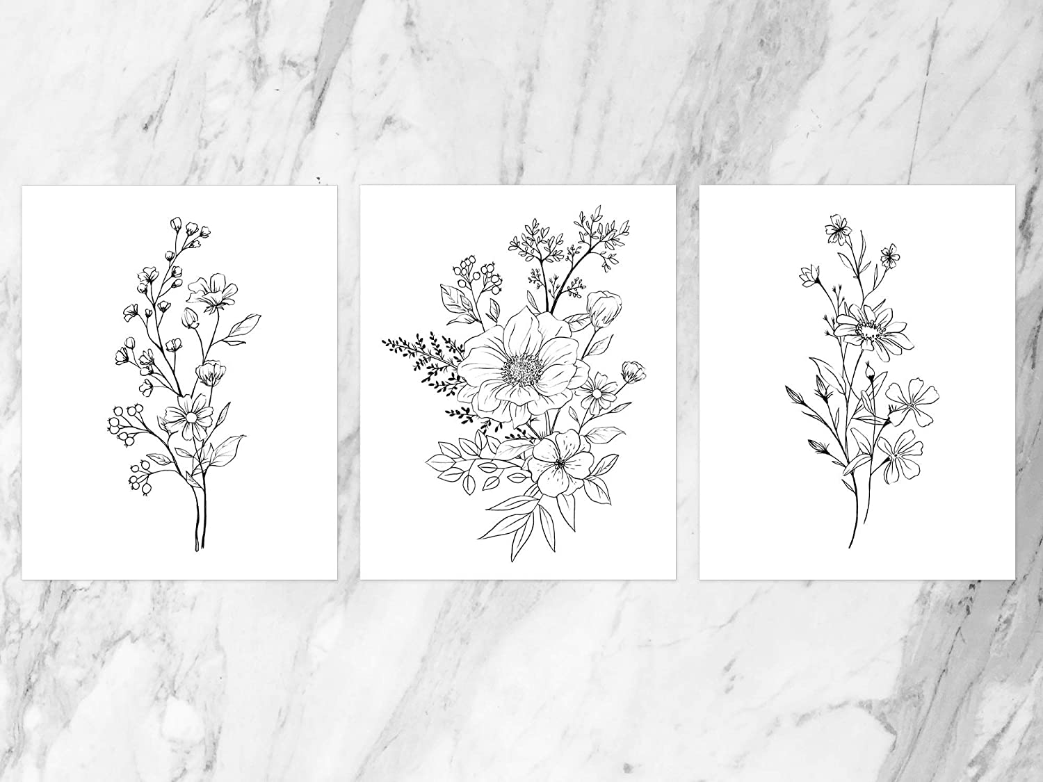 SL Design Botanical Flowers Wall Decor Art Print, 3 Panel Floral (Set of 3) UNFRAMED (8x10)
