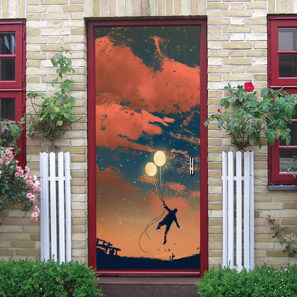 Adesivi Per Porte Stereo 3D, Sognando Adesivi Porta Creativo Gioventù, Staccabile Murale Poster Scena Adesivi Finestra Adesivi Murali Decalcomanie Decorazione Della Casa (2PCS)