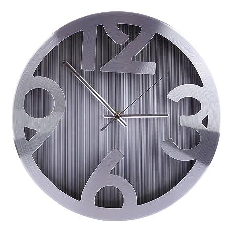 YVSoo Reloj de Pared Silencioso Modernos 30.5cm diámetro Decoración para Hogar Salon Oficina Comedor Gris