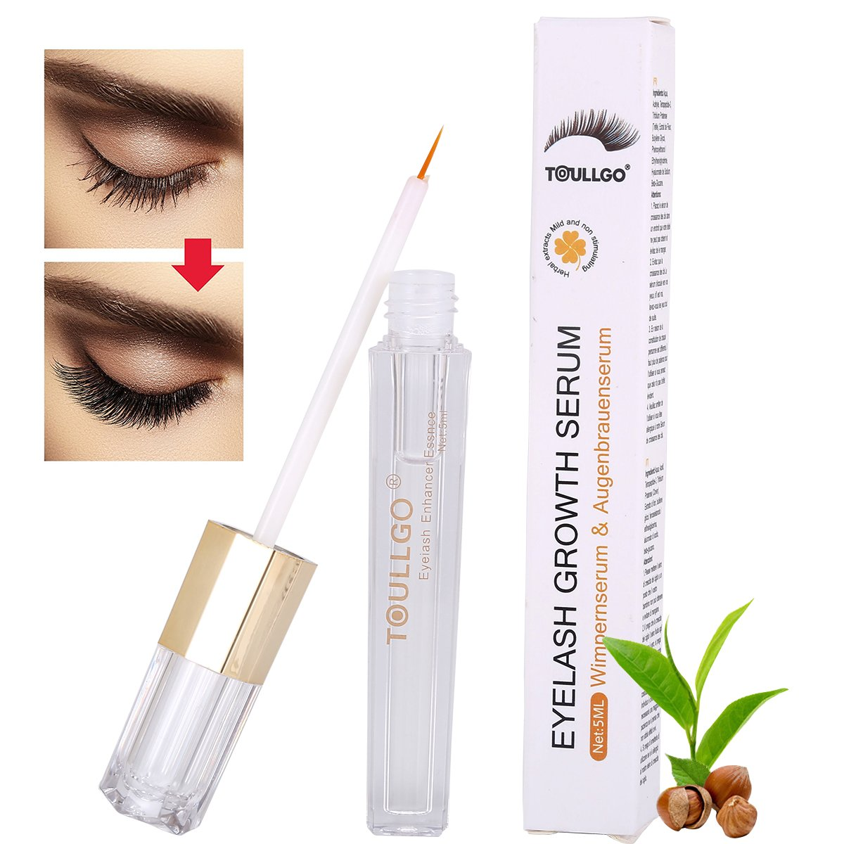 Eyelash Enhancer, eyelash growth serum, Lash & Brow Booster Serum, Eyelash Growth Enhancer & Brow Serum for Long, Luscious Lashes and Eyebrows Natural Lush Eyelash Growth & Regrowth