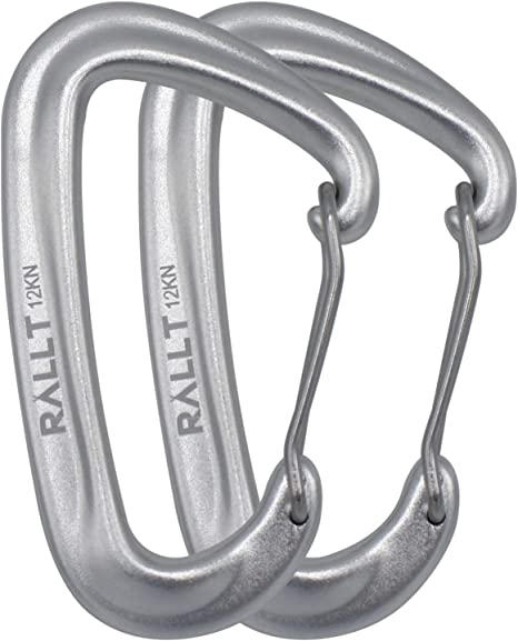 Rallt Carabiner Clips 12kn Aluminum Heavy Duty Carabeaner Hooks With Wire Gate 2 697 Pound Rating For Hammocks Camping Hiking Dog Leash Utility Aluminum 2 Pack Amazon Ca Sports Outdoors