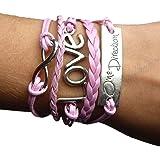 Bracelet Infini One Direction et Love / Infinity / Karma - Rose / Argent
