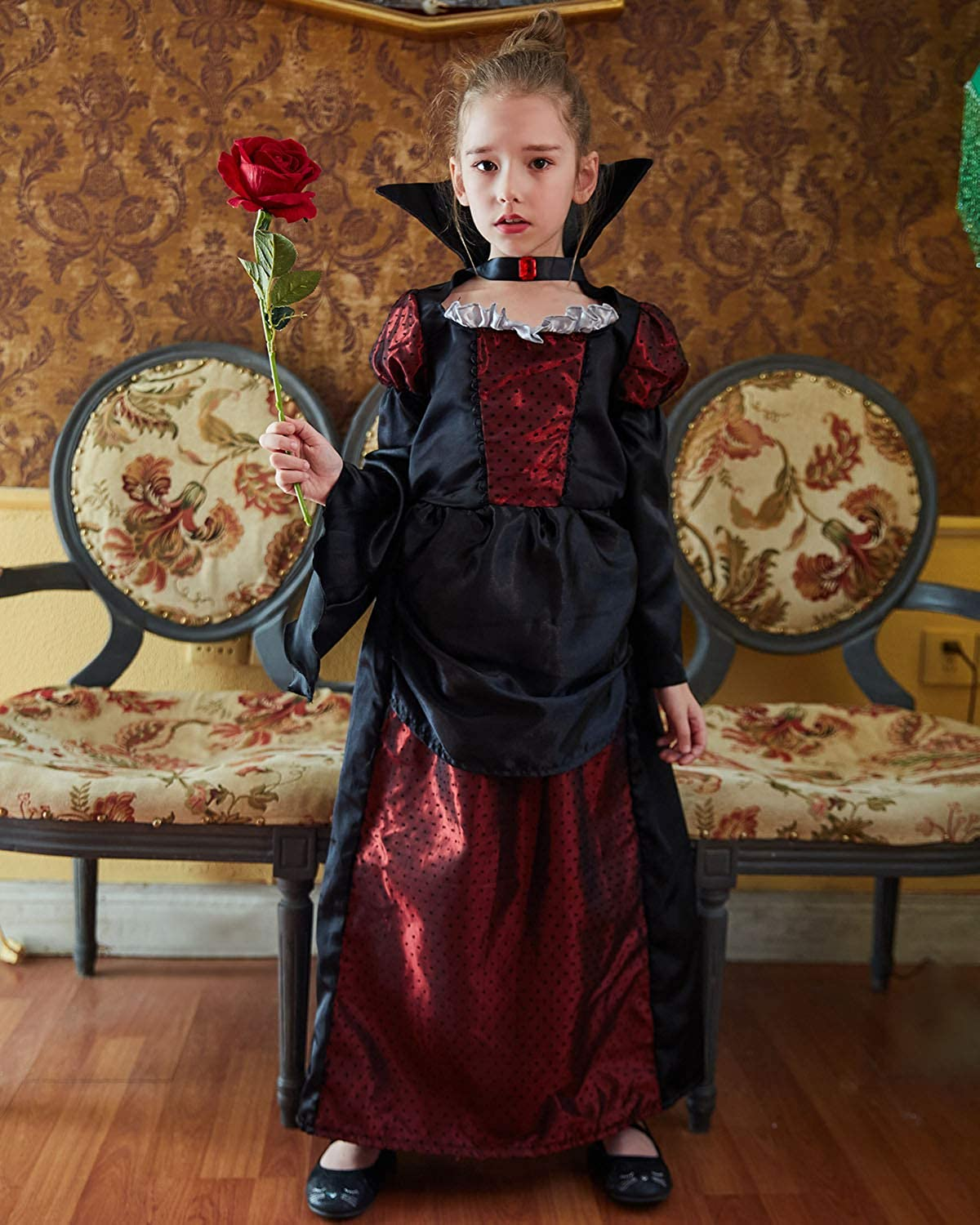 B Bascolor Vampire Costume for Girls Kids Halloween Costume Vampire Princess Dress Up Halloween Party Pretend Role Play