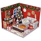 ドールハウス ミニチュア ドールハウス DIY 部屋 木製 小屋 手作り LEDライト ギフト 誕生日 クリスマスプレゼント (種類1)