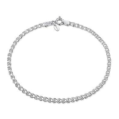 88fa740a67e1 Amberta® Joyería - Pulsera - Fina Plata De Ley 925 - Cadena de Corazón -