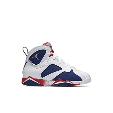 best service dcb34 670c7 Jordan Air 7 Retro PS Olympic Tinker Alternate Little Kid s Shoes  White Deep Royal Blue