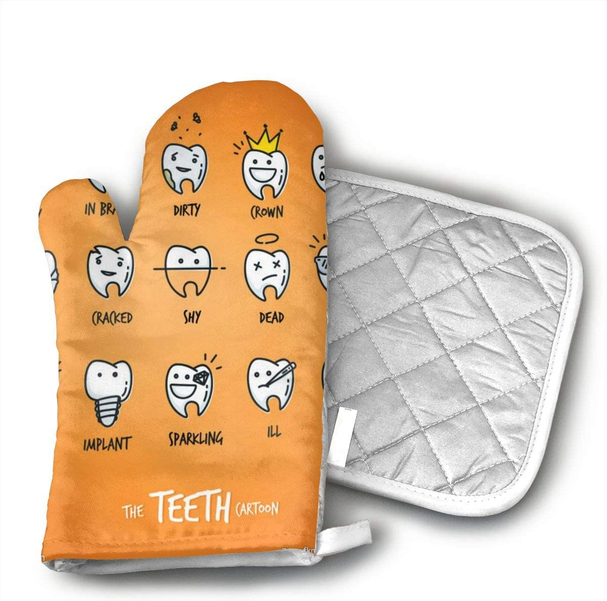 Wiqo9 Cute Cartoon Teeth Oven Mitts and Pot Holders Kitchen Mitten Cooking Gloves,Cooking, Baking, BBQ.