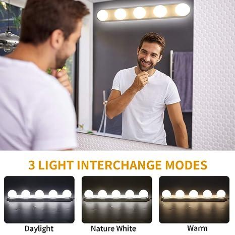 LED Spiegelleuchte, Make-up Licht, Yisun Spiegellampe Schminklicht  Schminkleuchte Tageslichtlampe LED-Lichtleiste Schrankleuchte (5V / 1A,5W  Weiß) für ...