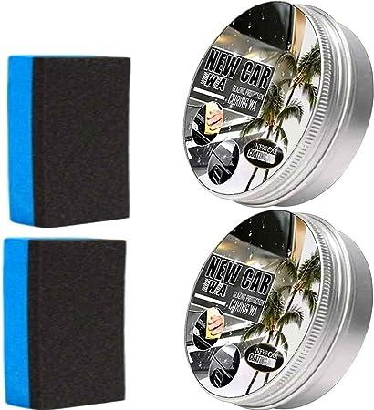 Puhuoqi New Car Coating Wax 2 Stück Auto Anti Scratch Wax Sofortiger Lackschutz Versiegelungsglasur Wasserdichtes Antifouling Wachs Kommt Mit Wischschwamm Schnell Reinigen Polieren Glänzen Auto