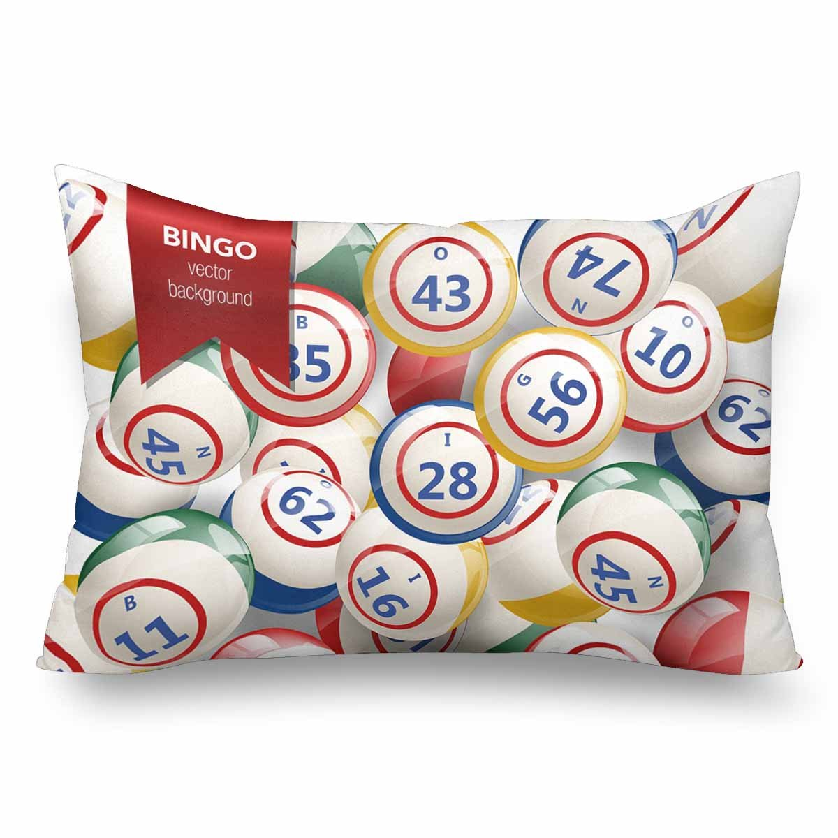 InterestPrint Bingo Lottery Numbers Balls Pillow Cases Pillowcase Standard Size 20x30, Rectangle Pillow Covers Protector for Home Couch Sofa Bedding Decorative