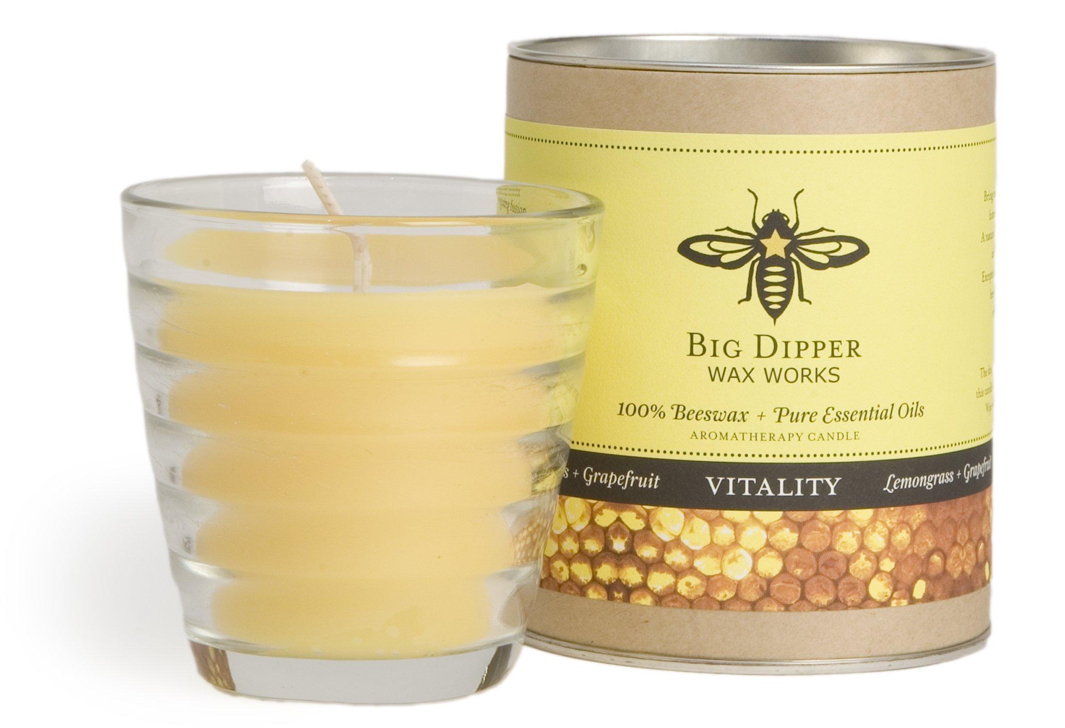 Long-lasting Hand-cast 100% Pure Beeswax Candle, 6 oz. Aromatherapy Beehive Glass - Vitality (Lemongrass-Grapefruit)