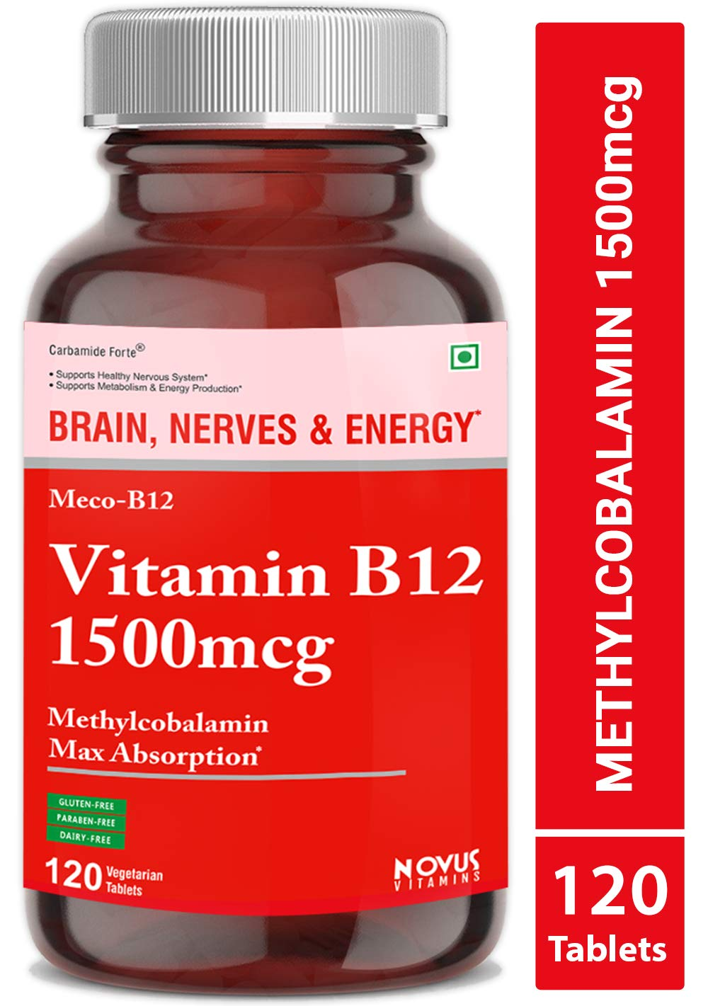 Carbamide Forte Methylcobalamin (Vitamin B12) 1500 mcg Supplement - 120 Veg Tablets product image