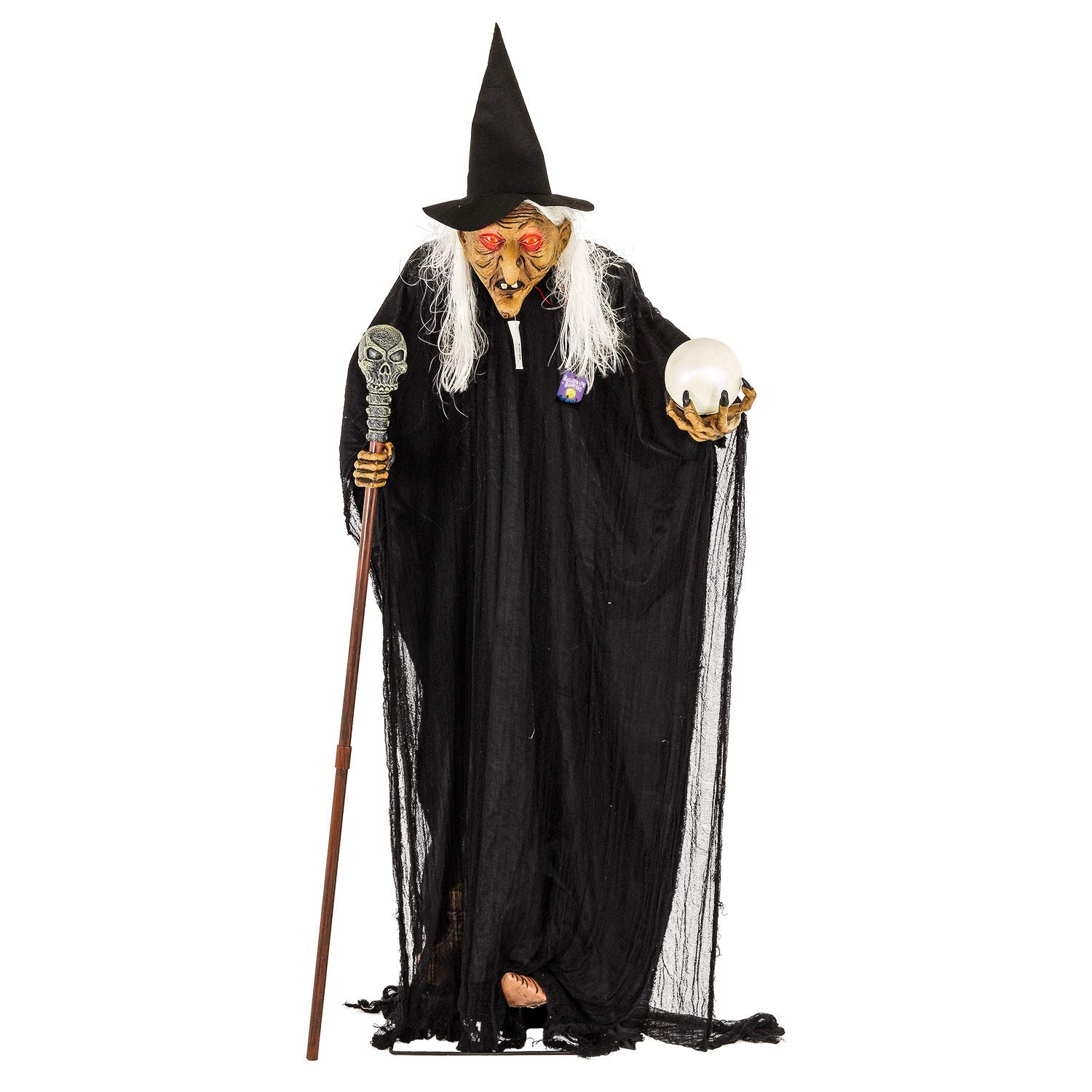 Halloween Haunters Life-Size Standing Old Witch with Crystal Ball and Skull Staff - Prop Decoration by Halloween Haunters