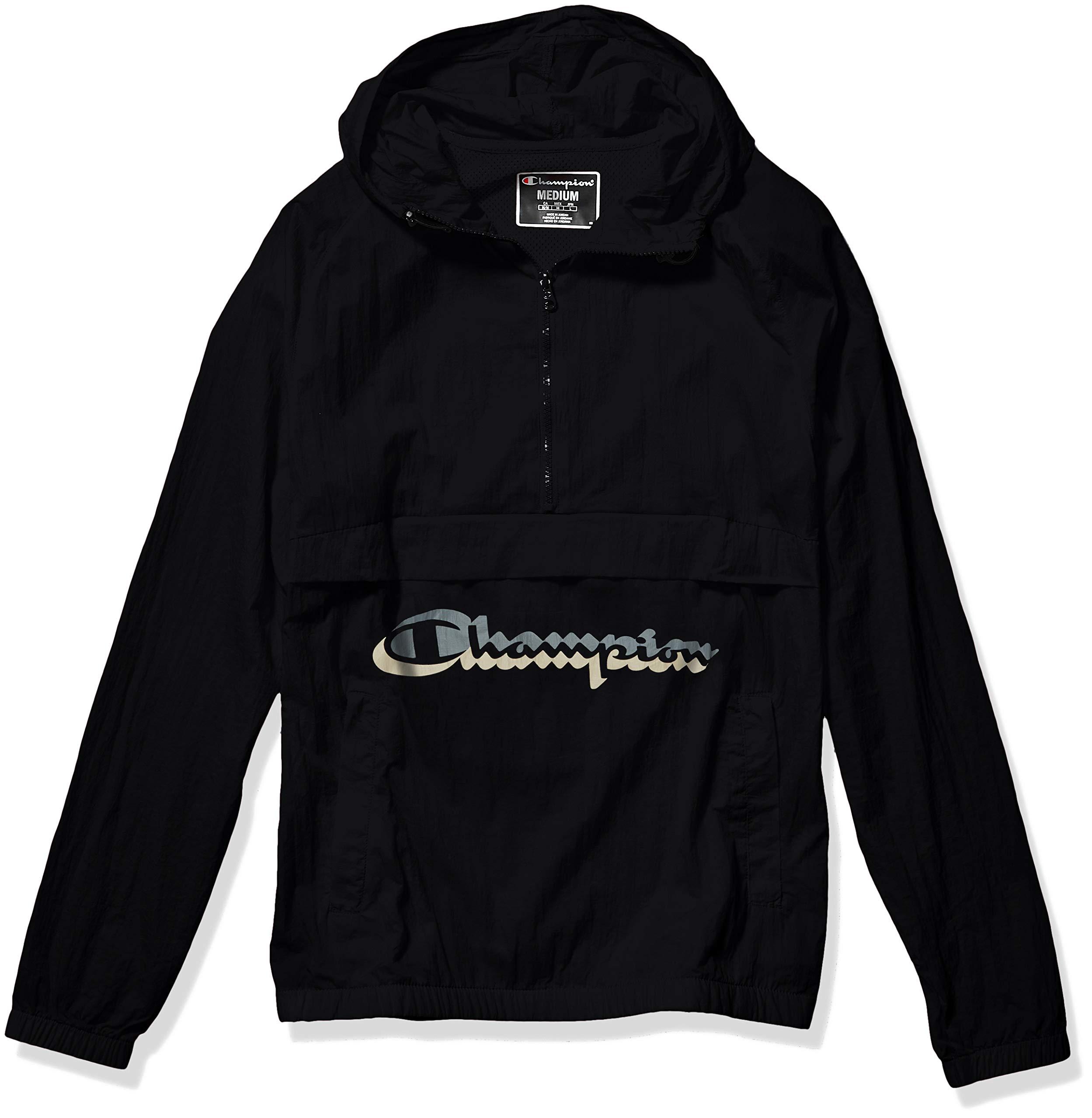 Champion LIFE Men's Anorak Windbreaker, Black w/Shadow Script, Medium by Champion LIFE