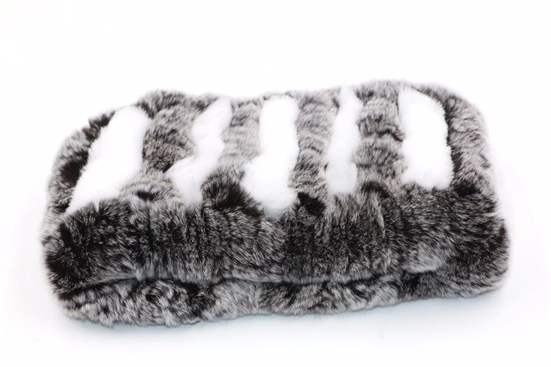 ERaBLe(TM) Women Winter Cold Weather Rex Rabbit Fur Knitted Headbands 4 Colors Huirun