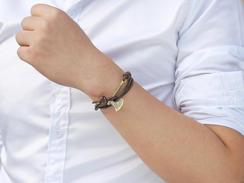 Skyrim r/églable Viking Noeud Cordon de Cire Bracelet Fait /à la Main avec The Cool Pendentif Hache Motif Bracelet