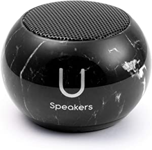 Fashionit U Mini Speaker | Stylish Portable Wireless Bluetooth 4.2 with Built-in Mic & Remote Shutter | Perfect Mini Speaker for Home, Parties, Activities! Small Device, Rich Sound | Black Marble
