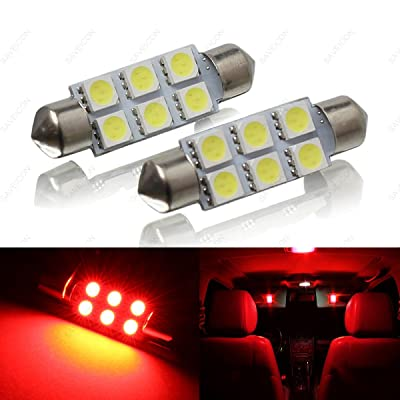 SAWE - 44MM 6-SMD 5050 Festoon Dome Map Interior LED Light Bulbs Lamp For 6411 578 211-2 212-2 (2 pieces) (Red): Automotive