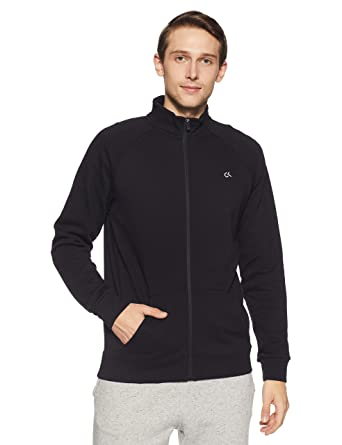 ed0c9fd2dd0 Calvin Klein Performance Cotton Zip Through Sweat Jacket with Statement  Logo at Back  Amazon.in  Clothing   Accessories