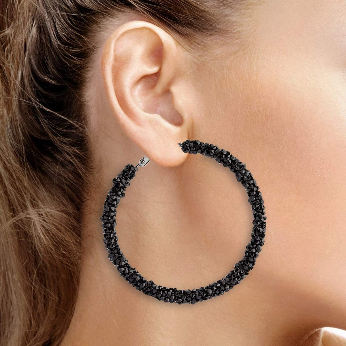 Crystal Hoop Earrings Une Douce 2 Pairs Rhinestone Hoop Earrings for Women Big and Small Hoop Earrings with Gift Box for Women and Girls