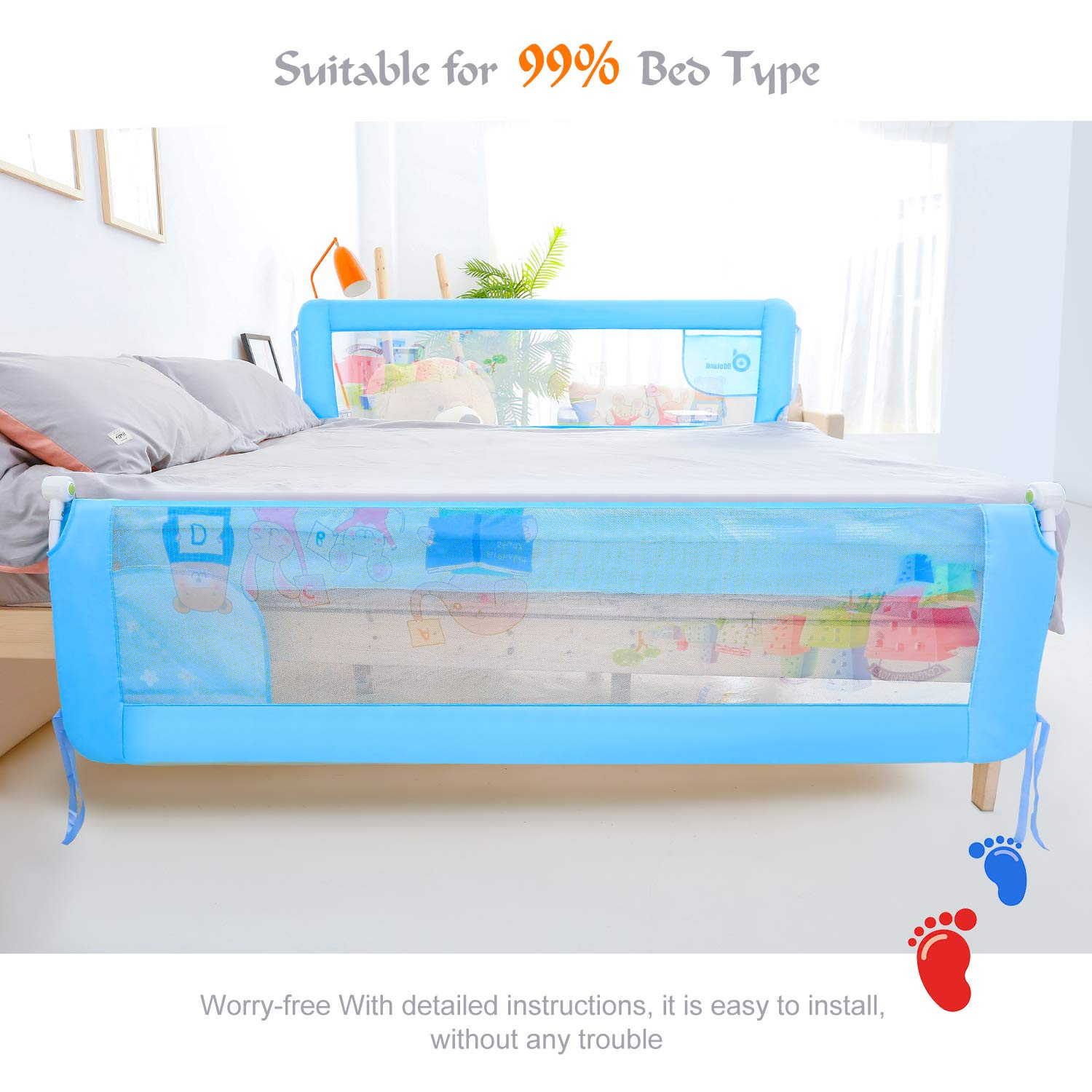 HK 56in Bed Rail Swing Down Safety Bed Rails Hide Away(HA) Bedrail Assist Extra Long BedRails, Mesh Guard Rails for Convertible Crib(1 Pack) by ODOLAND (Image #2)