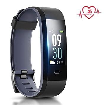 PORTHOLIC Pulsera de Actividad Inteligente Impermeable IP68 Pulsera Inteligente con Pulsómetro Monitor Ritmo Cardíaco,Sueño,Podómetro,Fitness Trakcer Reloj ...
