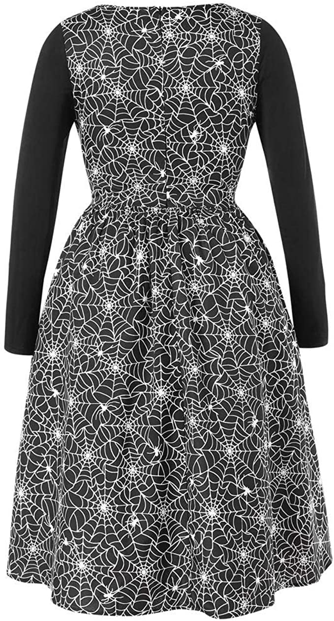 Yetou/Womens Dress Casual Long Sleeve Pumpkin Print A-Line Swing Halloween Dress Party Long Length Dress