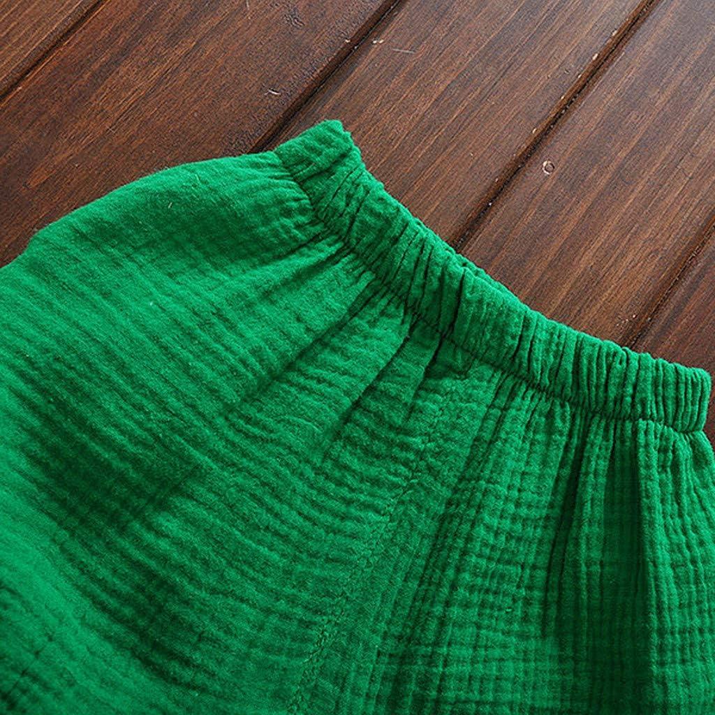 Womola Girls Cotton Clothing Sets Summer Sleeveless Polka Dot Print Irregular Top Solid Color Shorts Set