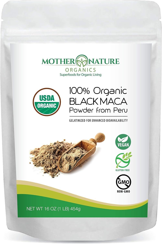 Madre Nature - Certified 100% USDA Organic Gelatinized Black Maca Powder - Fresh Harvest from Peru - Non-GMO - Vegan - Gluten Free - 1 LB, 50 Servings (16oz)