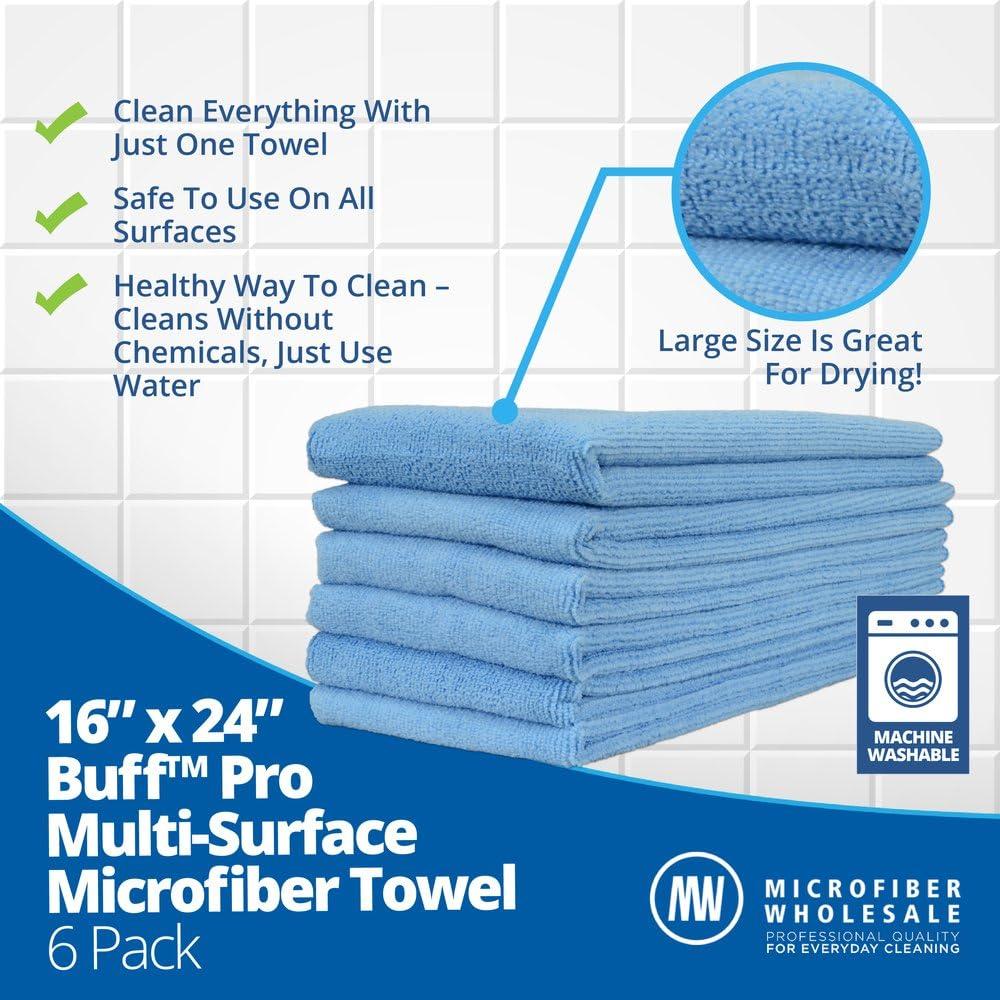 6 Pack Blue 16 x 24 Buff Pro Multi Surface Microfiber Towels 3 Color Options